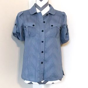 Marc by Marc Jacobs Grey Striped Button Down Top